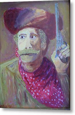 Cowboy With A Gun Metal Print
