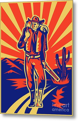 Cowboy With Backpack And Rifle Walking Metal Print by Aloysius Patrimonio