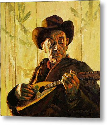 Cowboy With Mandolin Metal Print by John Lautermilch