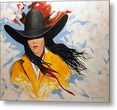 Metal Print featuring the painting Cowgirl Colors #3 by Lance Headlee