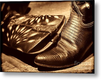 Cowgirl Gator Boots Metal Print by American West Legend By Olivier Le Queinec
