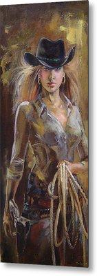Cowgirl Metal Print by Nelya Shenklyarska