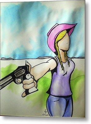 Cowgirl With Gun Metal Print by Loretta Nash
