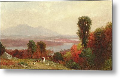 Cows And Sheep Grazing In An Autumn River Landscape Metal Print by Homer Dodge Martin