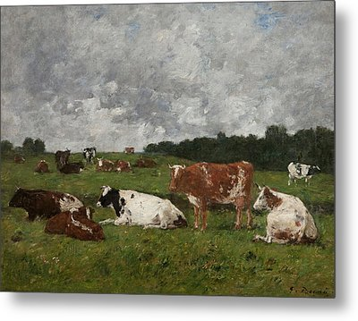 Cows At The Pasture Metal Print by Eugene Louis Boudin