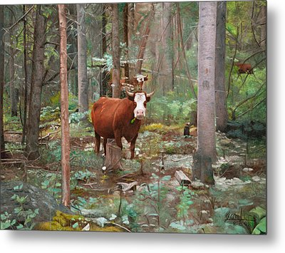 Metal Print featuring the painting Cows In The Woods by Joshua Martin