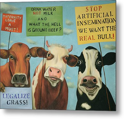 Cows On Strike Metal Print by Leah Saulnier The Painting Maniac