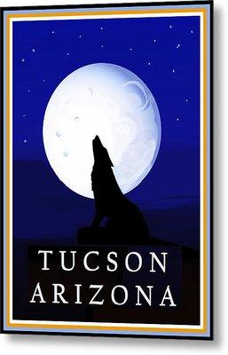 Metal Print featuring the digital art Coyote Moon - Tucson, Arizona by Vagabond Folk Art - Virginia Vivier