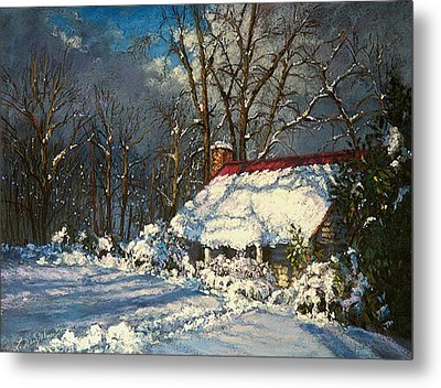 Cozy In The Snow Metal Print by L Diane Johnson