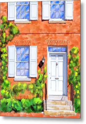 Metal Print featuring the mixed media Cozy Rowhouse Style by Mark Tisdale