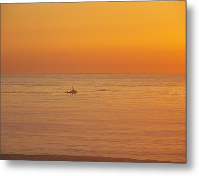Crab Boat At Sunset Metal Print by Angi Parks