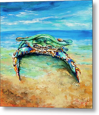 Crabby At The Beach Metal Print by Dianne Parks