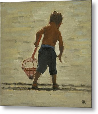 Crabin At The Beach Metal Print by John Reynolds