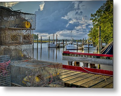Crabpots And Fishing Boats Metal Print by Williams-Cairns Photography LLC