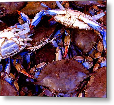 Crabs At The Market Metal Print by Timothy Bulone