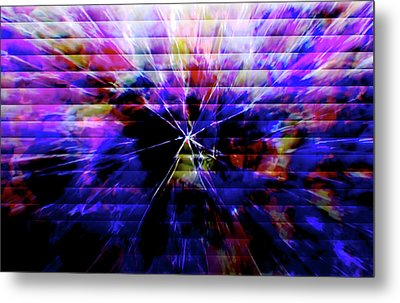 Cracked Abstract Blue Metal Print