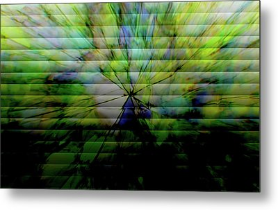 Cracked Abstract Green Metal Print