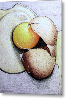 Cracked Egg Metal Print by Mary Ellen Frazee