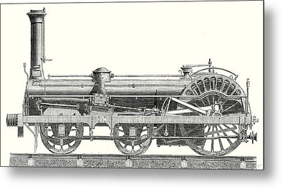 Crampton Locomotive Metal Print