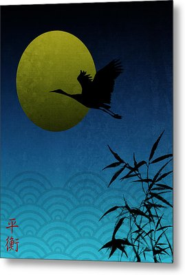 Crane And Yellow Moon Metal Print