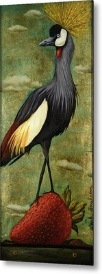 Crane Om A Strawberry Without Edge Metal Print