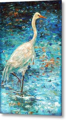 Crane Reflection Metal Print