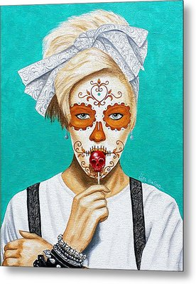 Metal Print featuring the painting Craneo Del Caramelo Dulce by Al  Molina