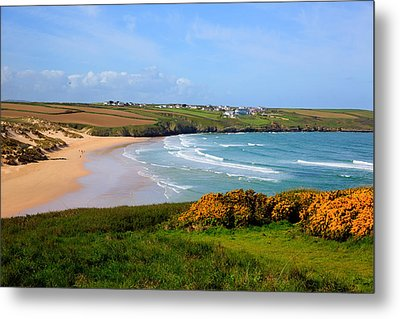 Crantock Bay And Beach North Cornwall England Uk Near Newquay With Waves In Spring Metal Print by Michael Charles