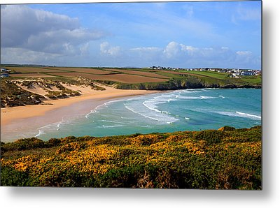 Crantock Beach And Yellow Gorse North Cornwall England Uk Metal Print by Michael Charles