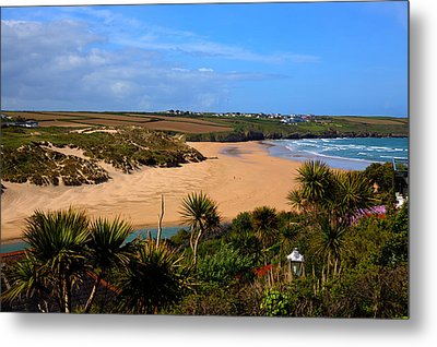 Crantock Beach North Cornwall England Uk Near Newquay With Palm Trees And Blue Sky Metal Print by Michael Charles