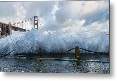 Metal Print featuring the photograph Crashing Wave Golden Gate Bridge King Tide by Steve Siri