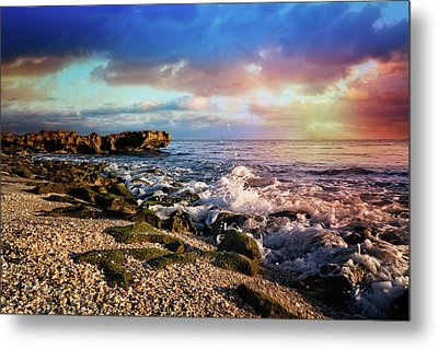 Metal Print featuring the photograph Crashing Waves At Low Tide by Debra and Dave Vanderlaan