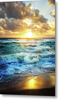Metal Print featuring the photograph Crashing Waves Into Shore by Debra and Dave Vanderlaan