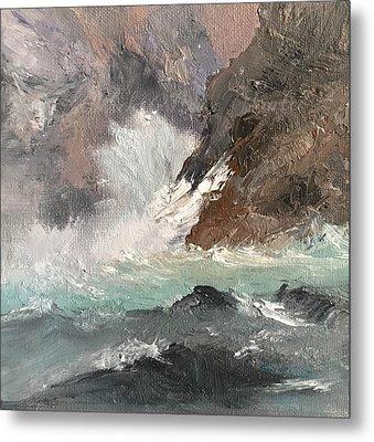 Crashing Waves Seascape Art Metal Print