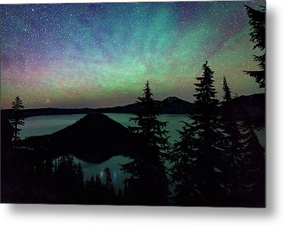 Metal Print featuring the photograph Crater Lake Airglow by Cat Connor