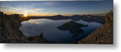 Crater Lake At Sunrise Metal Print