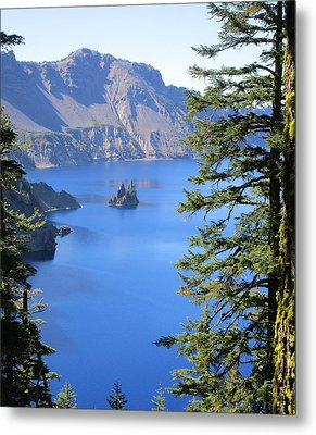 Crater Lake Ghost Ship Island Metal Print by Marie Neder