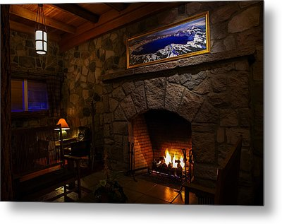 Crater Lake Lodge Fireside Relaxation Metal Print by Scott McGuire