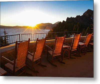 Crater Lake Lodge Porch Sunrise Metal Print by Scott McGuire