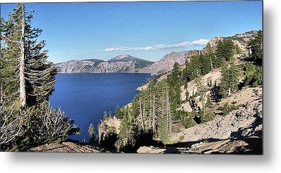 Crater Lake  Mountain Panorama Scene Picture Decor  Metal Print by John Samsen