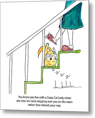 Crazy Cat Lady 0006 Metal Print by Lou Belcher