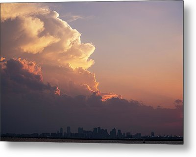 Crazy Clouds Over The Boston Skyline Boston Ma Winthrop Ma Metal Print by Toby McGuire