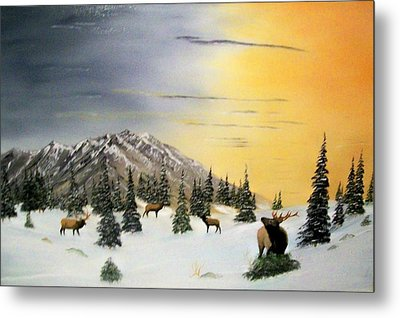 Metal Print featuring the painting Crazy Mountains Sunset by Al  Johannessen