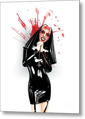 Metal Print featuring the drawing Crazy Nun by Brian Gibbs