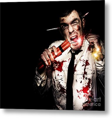 Crazy Zombie Businessman With Dynamite Explosives Metal Print