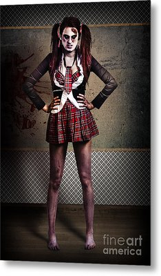 Crazy Zombie School Student. Tales From The Crypt  Metal Print