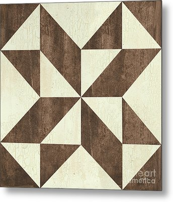 Metal Print featuring the painting Cream And Brown Quilt by Debbie DeWitt