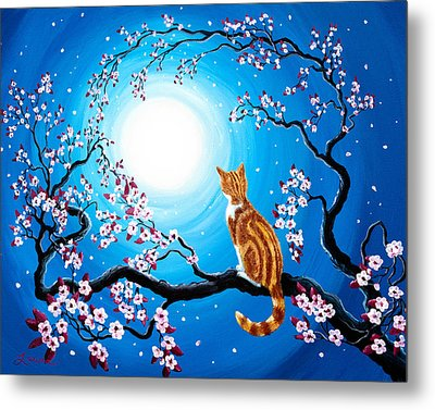 Creamsicle Kitten In Blue Moonlight Metal Print by Laura Iverson