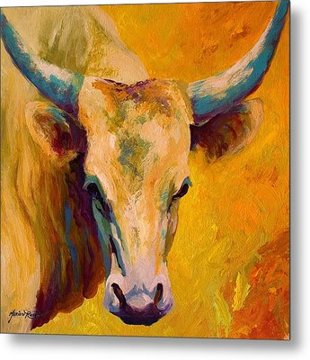 Creamy Texan - Longhorn Metal Print by Marion Rose