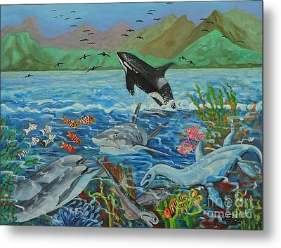 Creation Fifth Day Sea Creatures And Birds Metal Print by Caroline Street